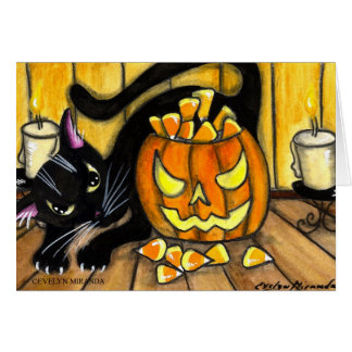 Happy Halloween Black Cat Card