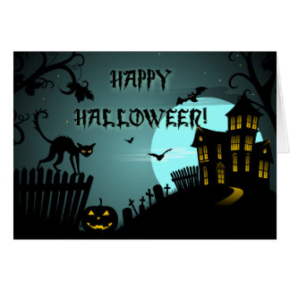 Happy Halloween Black Cat Haunted House Blue Card