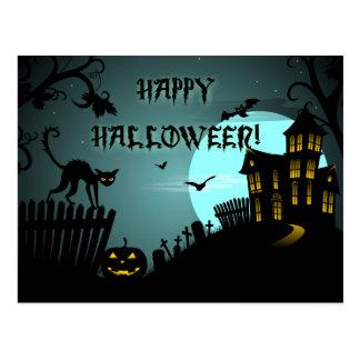 Happy Halloween Black Cat Haunted House Blue Postcard