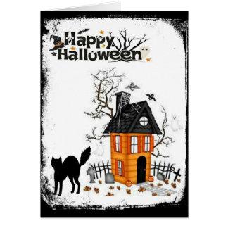 Happy Halloween Black Cat Haunted House Card