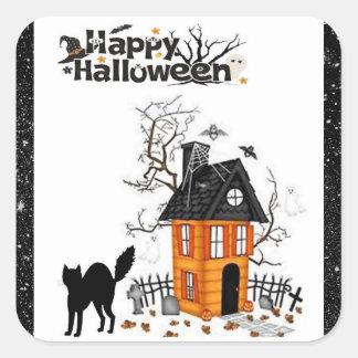 Happy Halloween Black Cat Haunted House Stickers