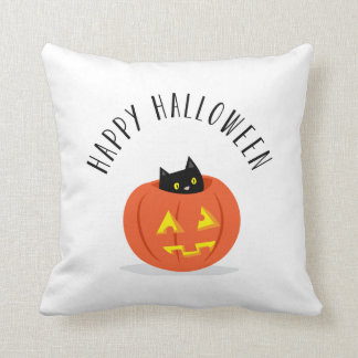 Happy Halloween Black Cat Jack O Lantern Pumpkin Cushion