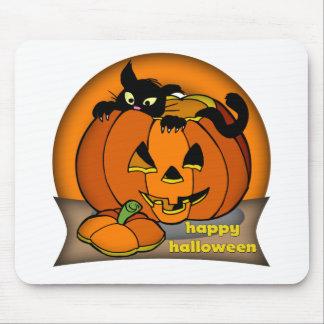 Happy Halloween Black Cat Mouse Mat