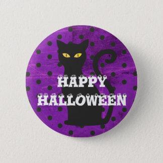 Happy Halloween Black Cat Orange Polka Dot Button