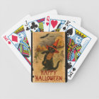 Happy Halloween Black Cat Playing Fiddle Bats Bicycle Playing Cards