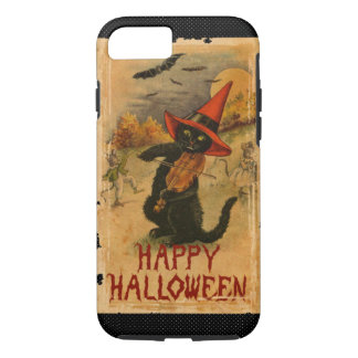 Happy Halloween Black Cat Playing Fiddle Bats iPhone 7 Case