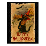 Happy Halloween Black Cat Playing Fiddle Bats Postcard