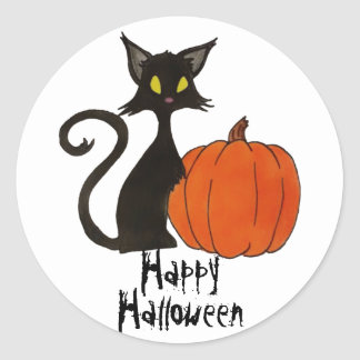 Happy Halloween black cat pumpkin party favor stic Round Sticker