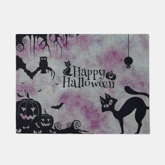 Happy Halloween Black Cat Purple  Door Mat