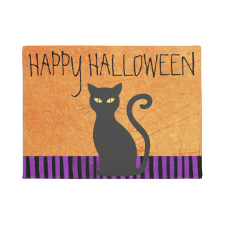 Happy Halloween Black Cat Purple Orange Door Mat