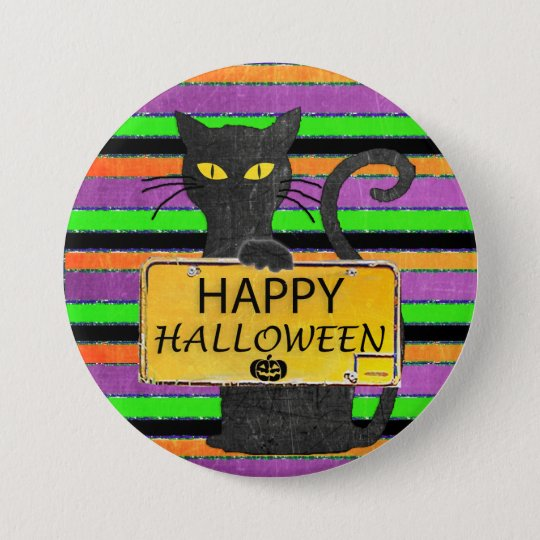 Happy Halloween Black Cat Rustic Sign Button