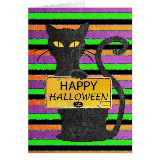 Happy Halloween Black Cat Rustic Sign Card