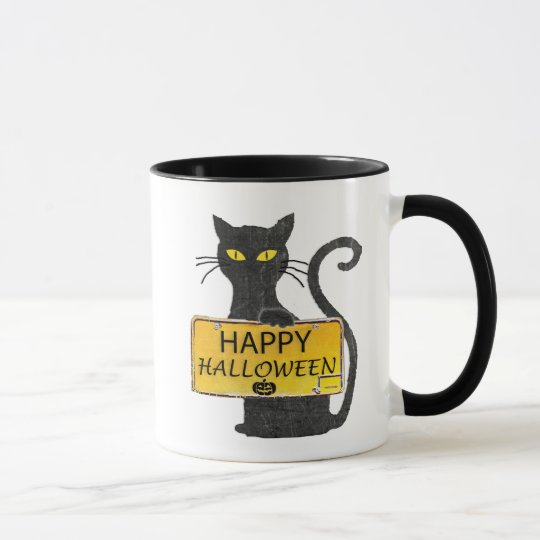Happy Halloween Black Cat Rustic Sign Coffee Mug