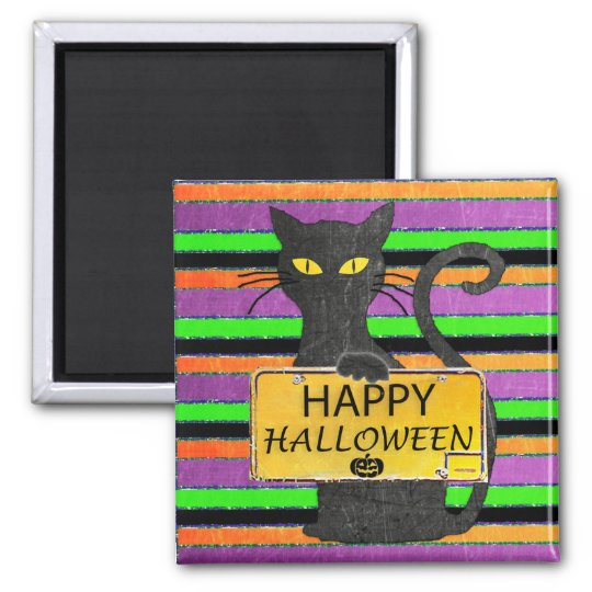 Happy Halloween Black Cat Rustic Sign Magnet