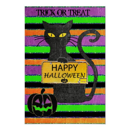 Happy Halloween Black Cat Rustic Sign Poster
