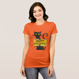 Happy Halloween Black Cat Rustic Sign Shirt
