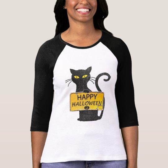 Happy Halloween Black Cat Rustic Sign Shirt