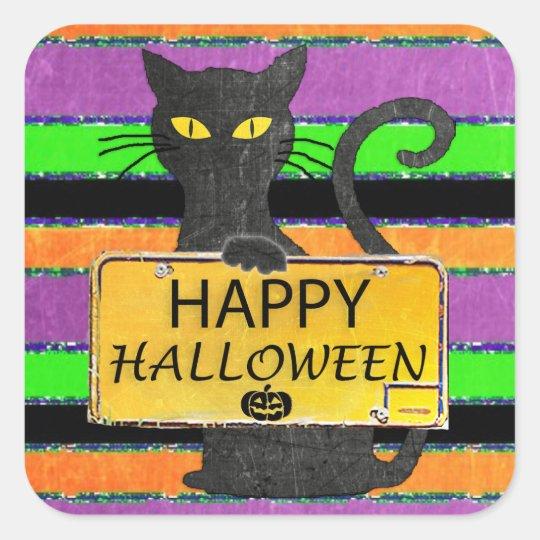 Happy Halloween Black Cat Rustic Sign Stickers