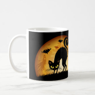 Happy Halloween black cat spooky haunted bats mug