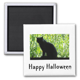 Happy Halloween Black Cat Square Magnet
