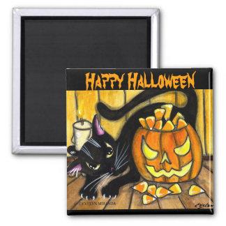 Happy Halloween Black Cat Square Magnet