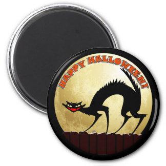Happy Halloween Black Cat with Full Moon 6 Cm Round Magnet