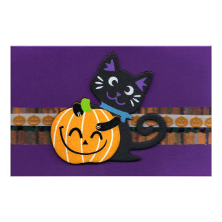 Happy Halloween Black Cat with Smiling Pumpkin Stationery