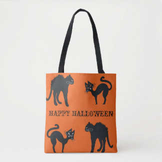 Happy Halloween Black Cats Tote Bag