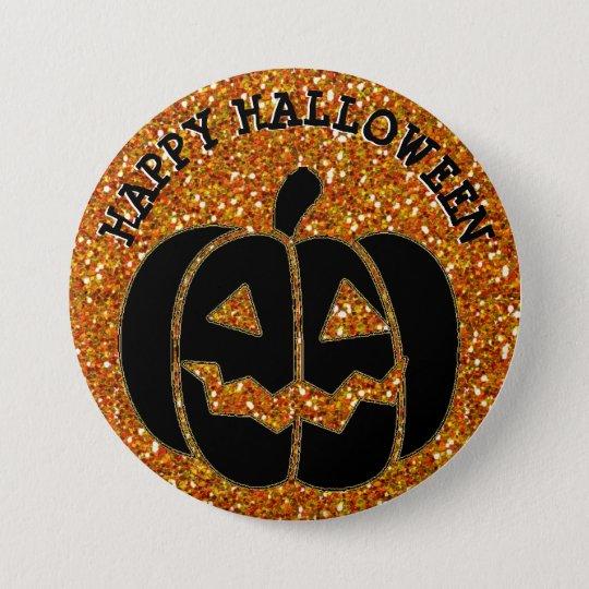 Happy Halloween Black Pumpkin Button