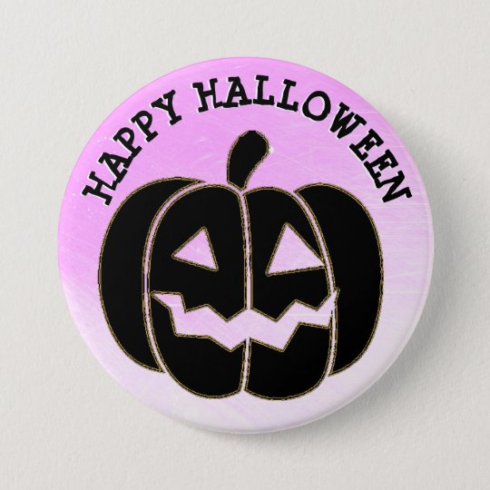 Happy Halloween Black Pumpkin Button