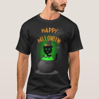 Happy Halloween Black T-shirt with Cute Black Cat