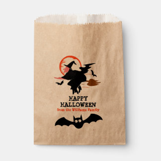 Happy Halloween Black Witch & Bats Personalized Favour Bags