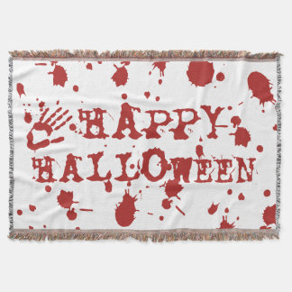 Happy Halloween Blood Spatter Bloody Hand Print