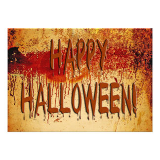 Happy Halloween Blood Stained Wall Invitation