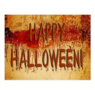 Happy Halloween Blood Stained Wall Postcard