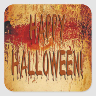 Happy Halloween Blood Stained Wall Sticker Square Sticker