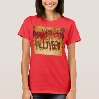 Happy Halloween Blood Stained Wall Womens T-Shirt
