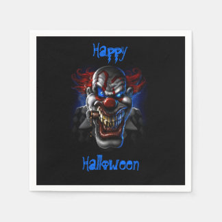 Happy Halloween Blue Eyes Evil Clown Paper Napkin
