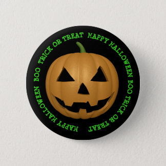 Happy Halloween Boo Carved Pumpkin Face Button