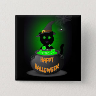 Happy Halloween Button with Cute Black Cat