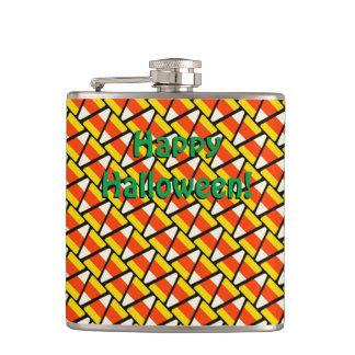 Happy Halloween Candy Corn Pattern Flasks