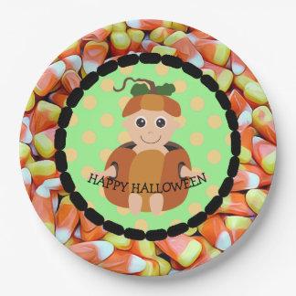 Happy Halloween Candy Corn Pumpkin Kid Plates