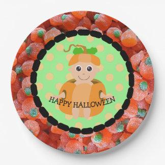 Happy Halloween Candy Pumpkin Kid Plates