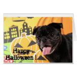 Happy Halloween Card Black Pug グリーティングカード