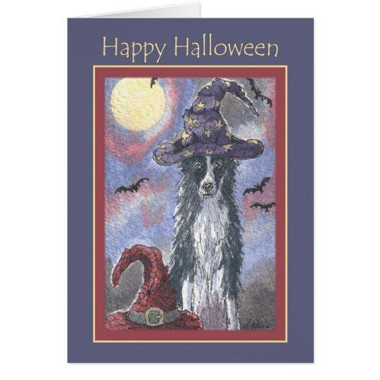 Happy Halloween card, border collie dog wizard Card