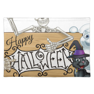 Happy Halloween Cartoon Monsters Sign Background Placemat