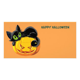 Happy Halloween Cat and Pumpkin Customised Photo Card