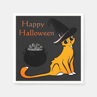 Happy Halloween Cat Witch - Napkins Disposable Napkins