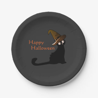 Happy Halloween Cat Witch - Plates
