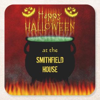 Happy Halloween Cauldron Fire Square Paper Coaster